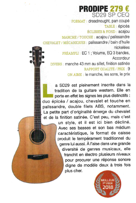 SD29 SP CEQ Guide achat 2018 - Guitarist Acoustic Unplugged