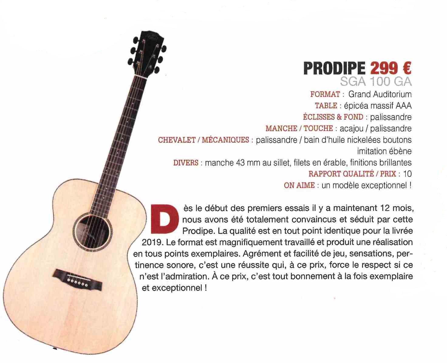 Guitare Acoustique Sga100 Grand Auditorium Prodipe Guitars